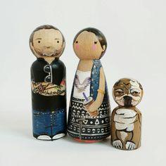 """Custom 3 1/2"""" couple de peg et pet / / custom familial de 3"""