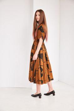 Black Crane Pleated Dress in Print (Teak/Black)