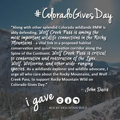 Will you join John and protect this important wildlife connection? www.coloradogives.org/RMW #ColoradoGivesDay