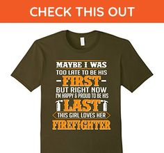 Mens Meaning T-Shirt From Firefighter Husband For His Wife. Medium Olive - Careers professions shirts (*Amazon Partner-Link)