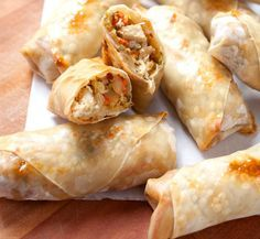 Ideas For Meat Appetizers Easy Egg Rolls Chicken Egg Rolls, Chicken Spring Rolls, Easy Baked Chicken, Chicken Eggs, Chicken Recipes, Chinese Appetizers, Hot Appetizers, Egg Roll Recipes, Light Recipes