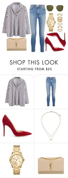 """#14628"" by vany-alvarado ❤ liked on Polyvore featuring Frame, Linda Farrow, Gianvito Rossi, Topshop, Michael Kors, Yves Saint Laurent and Forever 21"