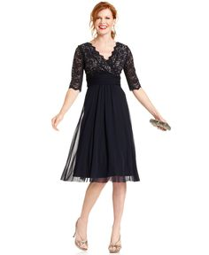 Jessica Howard finishes this dress with a touch of lace at the bodice and a pleated empire waistband. - Polyester; lining: polyester - Dry clean - Imported - Surplice neckline with scalloped edges - B
