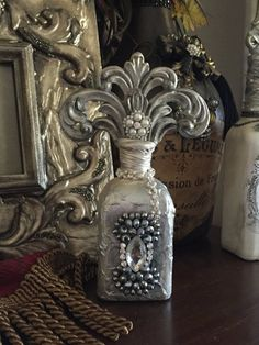 Decorative Embellished Bottle by LAPDesigns2014 on Etsy