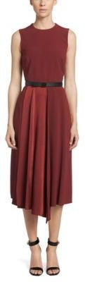 Hugo Boss Dimola Belted Pleated Sheath Dress 4 Red