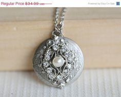 ON SALE Locket, Silver Locket, Locket,Rhinestone Locket,filigree locket necklac,Wedding Necklace,bridesmaid necklace