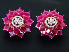 Rhodium Plated Zircon CZ Pink Ruby Rhinestone Crystals Stud Earrings - Apocalypse Now And Then Sapphire Earrings, Gold Earrings, Pendant Jewelry, Jewelry Sets, Blue Sapphire, Crystal Rhinestone, Flower Designs, Plating, Crystals