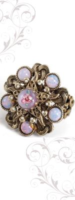 Vintage Inspired Rings By Ollipop - Lilac Art Glass Bohemian Opal Ring - Unique Vintage - Pinup, Holiday & Prom Dresses.