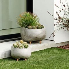 With their simple cement bowls and solid wood legs, our Modern Wood Leg Planters create an industrial look for your greenery. Even better? Their oak-finished legs have been treated to be used either inside or out.