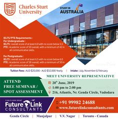 Want to study in Australia? If Yes, then Attend Our FREE SEMINAR TOMORROW! Meet the representative from Charles Sturt University, Australia and get all your questions answered. For information, Call 999 822 4688 Colleges In Australia, Pte Academic, Toronto, Overseas Education, Visa, Ielts, Study Abroad, Coaching