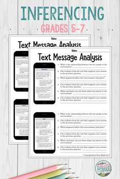 In this engaging activity, students will review eight different text message conversations in order to make inferences and draw conclusions. Students are required to cite evidence for each answer. #reading #teacherspayteachers #middleschool