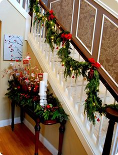 garland for stair idea christmas home christmas holidays christmas hallway christmas stairs decorations - How To Decorate Stairs For Christmas