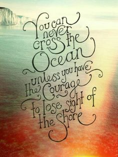 You can never cross the ocean if you dont have the courage to lose sight of the shore.