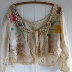 Large Vintage Linen Bolero Jacket Ready to Ship
