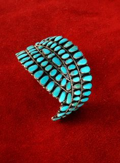 Antique Native American Navajo ZUNI Turquoise and Sterling Cuff Bracelet by Mevlevi
