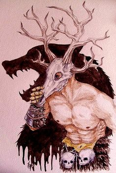 """The daedric prince Hircine is also known as the Huntsman of the Princes, and the Father of Manbeasts. He can call upon the Wild Hunt to punish those who defy him."" art by inquissien"