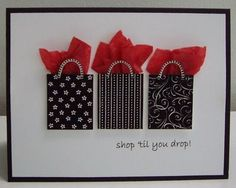 The originator stamped the rectangles and the handles with an SU set called 'Playful Pieces'.  I'm thinking black scraps and any ribbon or jute or twine for the handles.  A pop dot behind the top of the bag would make room for the tissue paper.  This could really be for ANY occasion.  Love it!