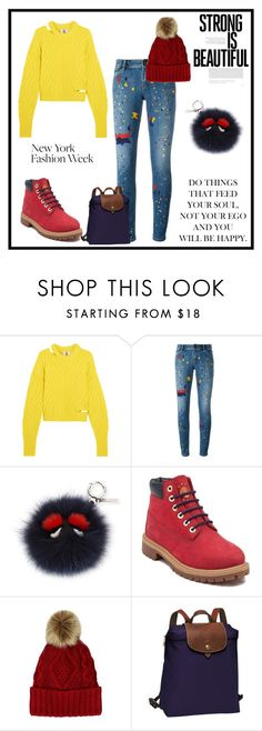"""""""Untitled #1102"""" by gabi-sweet ❤ liked on Polyvore featuring Topshop Unique, Alice + Olivia, Fendi, Timberland and Longchamp"""
