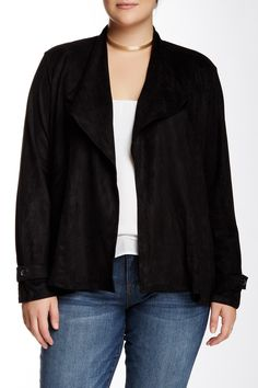 Drape Front Faux Suede Jacket (Plus Size) by Lapis on @nordstrom_rack