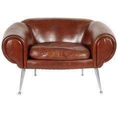 Illum Wikkelsø; Leather and Aluminum Lounge Chair for Aarhus Polstermøbelfabrik, 1960s.
