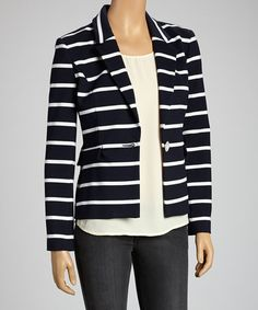 Take a look at this Navy Stripe Blazer by Muse on #zulily today!