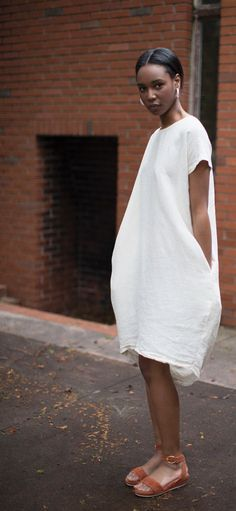 Black Crane Cream Pleated Cocoon Dress & Anne Thomas Chutney Romane Sandal