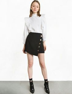 Ruffled blouse, asimetric skirt