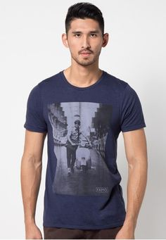 Vespa Printed Basic Tee from FAMO in blue_1