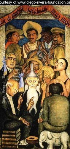 Diego Rivera (December 8, 1886 - November 24, 1957) was born Diego Maria de la Concepcion Juan Nepomuceno Estanislao de la Rivera y Barrientos Acosta y Rodriguez in Guanajuato, Gto.).  He was a world-famous Mexican painter, an active Communist, and husband of Frida Kahlo, 1929-1939 and 1940-1954 (her death)