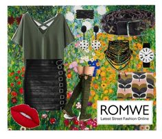 """One, two buckle my skirt   Romwe-Green T-Shirt"" by bluehatter ❤ liked on Polyvore featuring Gucci, Orla Kiely, Diesel, Rosendahl, Oscar de la Renta and Monza"