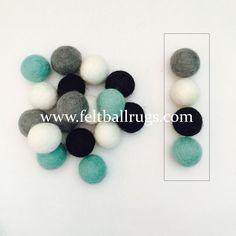 2cm Mixed aqua flavor felt ball package. The package contains aqua, gray, black and white colors. Available in different package size.