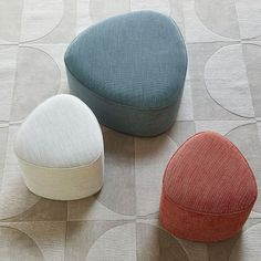 A new twist on a living room staple, our Pebble Ottoman is a versatile option for extra seating, a foot rest or as a table when topped with a tray. Even better, it can fit easily under most side tables when not in use, making it ideal for small sp… Ottoman Footstool, Ottomans, Ottoman Table, Chair Cushions, Bijoux Design, Modern Ottoman, Leather Ottoman, Leather Sofas, Sofa Design
