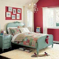 Dormitorio azul country y rojo colonial
