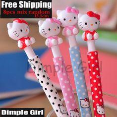 8pc Creative Item Product Kawaii Stationery Japanese Stationary School Supplies Cartoon Novelty Cute Hello Kitty Ballpoint Pens-in Ballpoint...