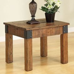 Add country-cottage style to your living room with this rustic end table. The plank style wood surface is perfect for lamps, books, or drinks. Finished in a distressed brown with exposed metal corners for a wholesome, organic look and feel. Pair with the matching country wagon coffee table for the complete look.