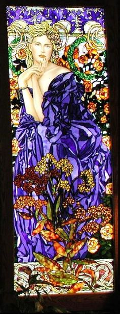 Art Nouveau Style Blue Flower Lady Stained Glass by Jim M. Berberich, Bogenrief Studios, inspired by Alphonse Mucha