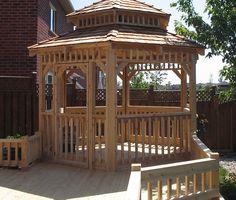 Hexagonal cedar gazebo and custom deck by Flamborough Patio Garden Structures, Outdoor Structures, Gazebo, Pergola, Custom Decks, Sunrooms, Fences, Outdoor Spaces, Patio