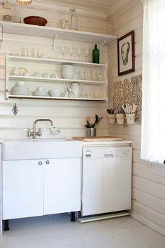 tiny, pale kitchen.
