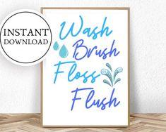 Items similar to Wash Brush Floss Flush Kids Bathroom Sets, Funny Bathroom Art, Funny Wall Art, Bathroom Prints, Bathroom Humor, Bathroom Wall Decor, Bathroom Signs, Turquoise Bathroom Decor, Funny Toilet Signs