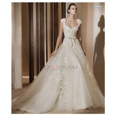 Ball Gown Queen Anne Appliques Bow Organza long white Wedding Dress found on Polyvore