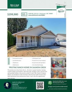 Real Estate for Sale at $299,900! Come and view this pristine three bedroom, two bath, 1394 square foot one level Salmon Creek ranch style low maintenance home on a .14 acre lot located at 4109 NE 115th Street, Vancouver, Washington 98684 in Clark County area 44 which is in the North Salmon Creek area in Vancouver. The RMLS number is 18272156. It has one gas burning fireplace and is not considered to be a view home. It was built in 2004 and has an attached two car garage. The local high…