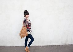 New Darlings - Aztec Sweater - Zuzii Oxfords - Top Knot Funky Fashion, Diy Fashion, Fashion Outfits, Bohemian Fashion, Bohemian Style, New Darlings, Autumn Winter Fashion, Winter Style, Fall Fashion