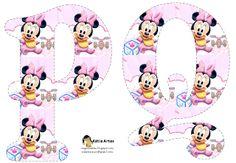Alfabeto de Minnie Beb� con fondo en rosa y blanco.