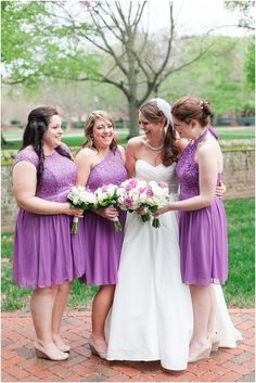 Grey and Wisteria Wedding at Wren Chapel Williamsburg, Yorktown Freight Shed Reception by Angie McPherson Photography, Bridesmaids