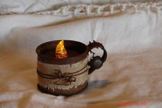 Primitive Battery Tea Light Candle Rusty Cup Holder
