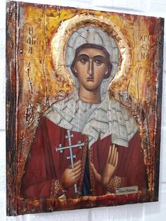 Christina the Martyr-Greek Russian Orthodox Byzantine Antique Style Icons - Handmade Russian Orthodox, Item International, Bee Wax, Style Icons, Gold Labels, Saints, I Icon, Great Love, Athens
