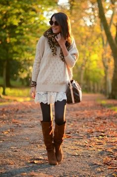 Sweater Over Dress Leggings Tights Boots
