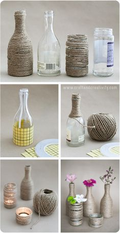 Upcycled glass bottles & jars