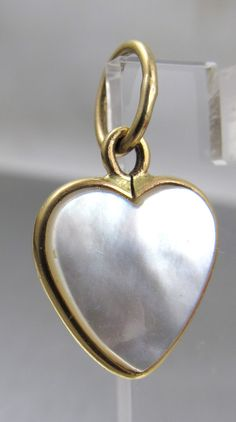 14K Mother of Pearl Heart Charm Pendant by TonettesTreasures.