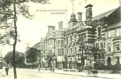 Camberwell School of Arts and Crafts was opened on 10 January 1898 in premises adjoining the South London Art Gallery. Iaimed 'to give the best artistic and technical education to all classes in the district', 'supplement knowledge gained by craftsmen in workshops' and 'help the craftsman become the designer of his own work'. The philanthropist John Passmore Edwards gave a substantial sum of money for the erection of the building in memory of Lord Leighton. c. 1910.